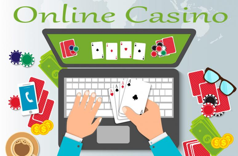 online casino laptop med kortlek och spelmarker